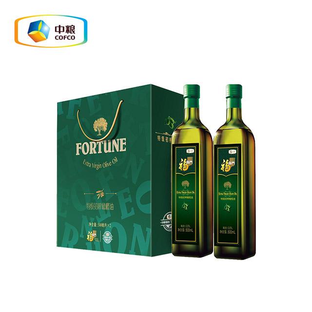 中粮 福临门特级初榨橄榄油礼盒 500ml*2瓶