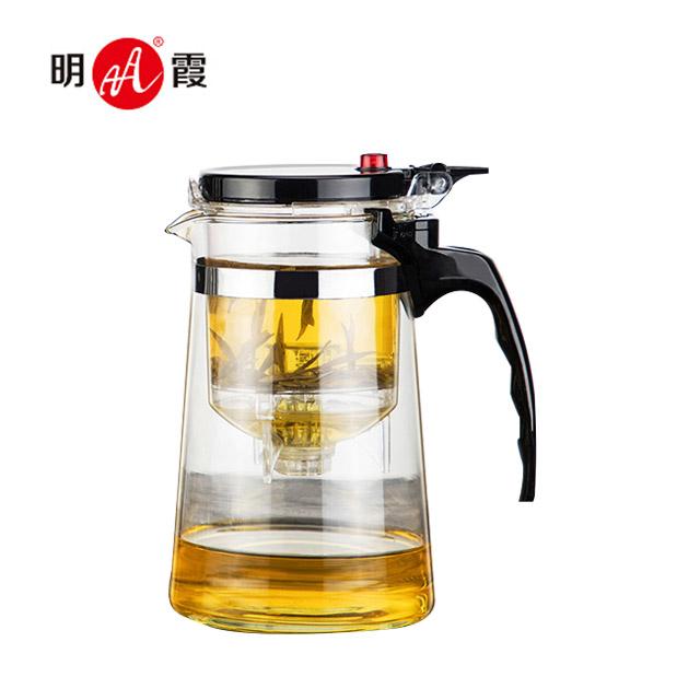明霞 飘逸杯过滤泡茶壶全玻璃茶水分离家用冲茶器办公室茶具透明1000ml