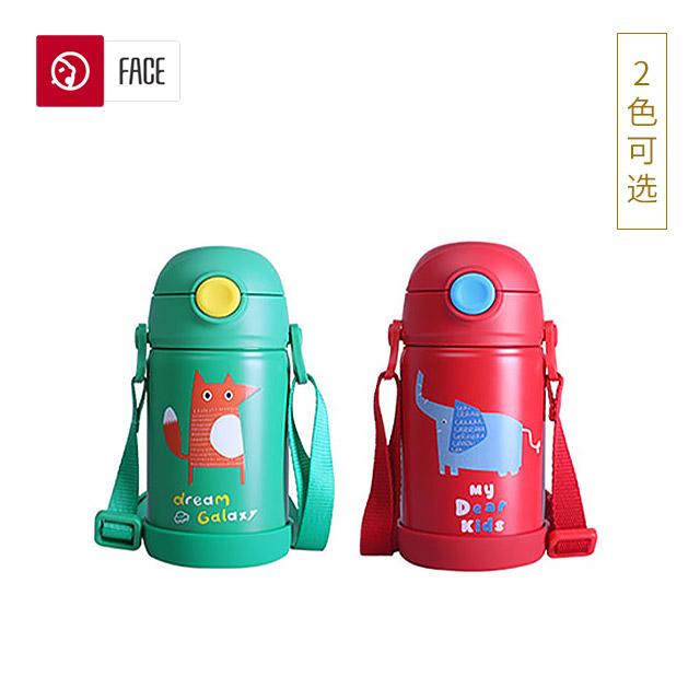 face双耳儿童保温杯动物系列两用保温杯可爱316不锈钢保温 320ml(默认森林绿)