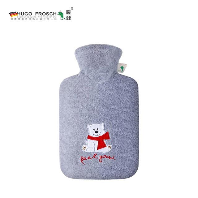 HUGO FROSCH暖蛙注水暖水袋 加厚卡通绒布舒心款小灰熊(1.8L)0498